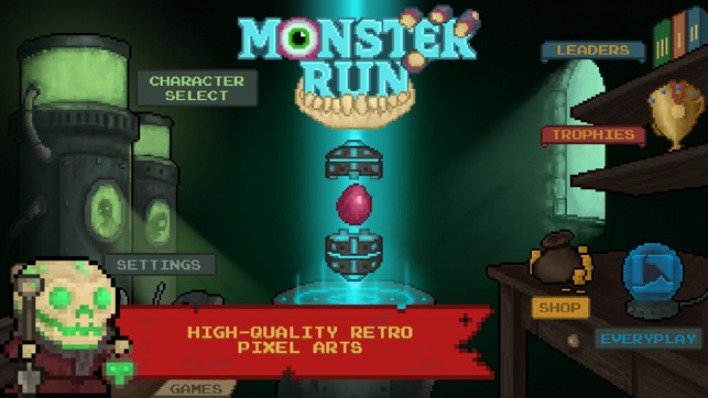 Monster Run. Free pixel-art platformer on the App Store