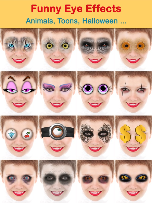 Crazy bug eyes changer booth: funny eye makeup | app price drops.