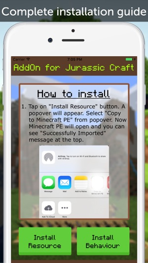 Jurassic Craft AddOn for Minecraft Pocket Edition on the App