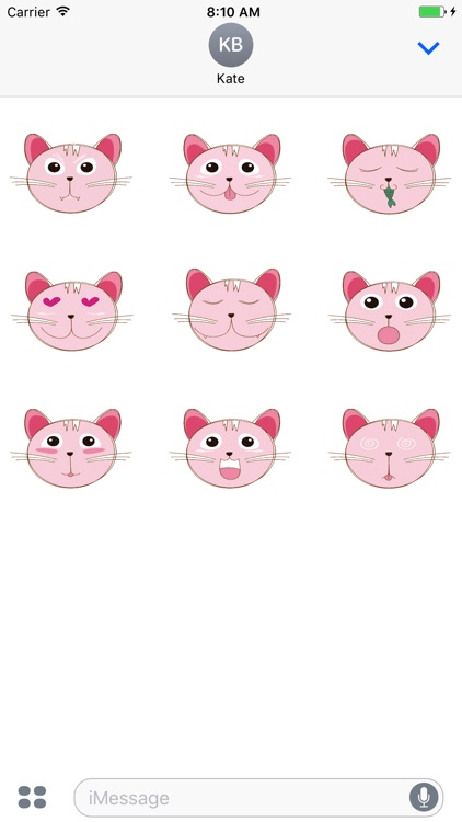 Animated Pink Cat Stickers