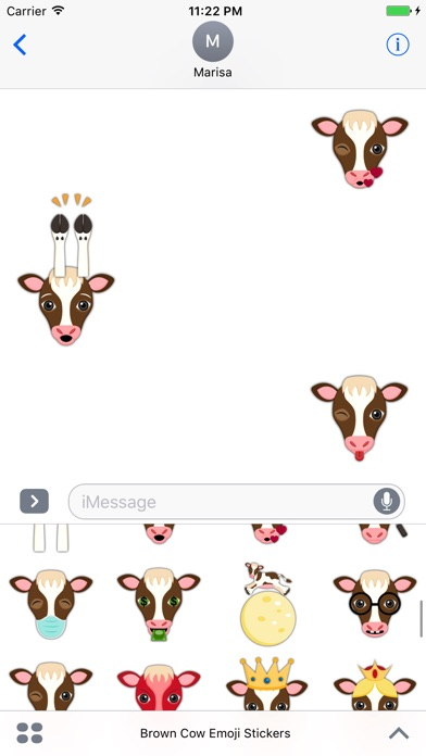 Brown White Cow Emoji Stickersのスクリーンショット3
