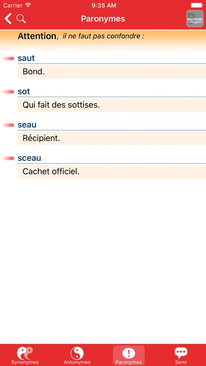 Bescherelle, Le dictionnaire des synonymes screenshot-4