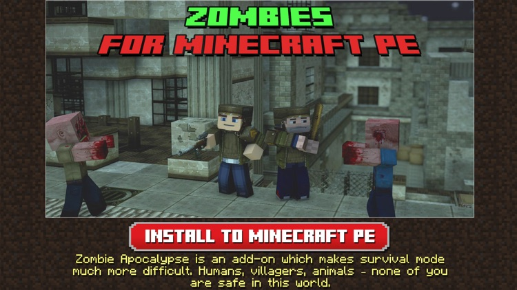 Zombie Addons Maps for Minecraft PE Pocket Edition
