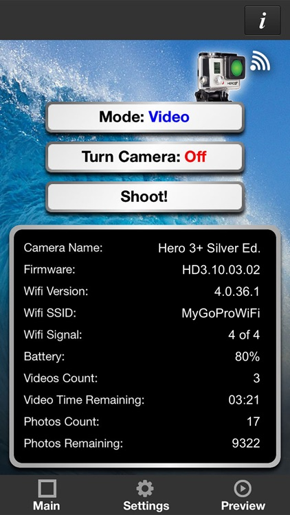 Remote Control for GoPro Hero 3+ Silver