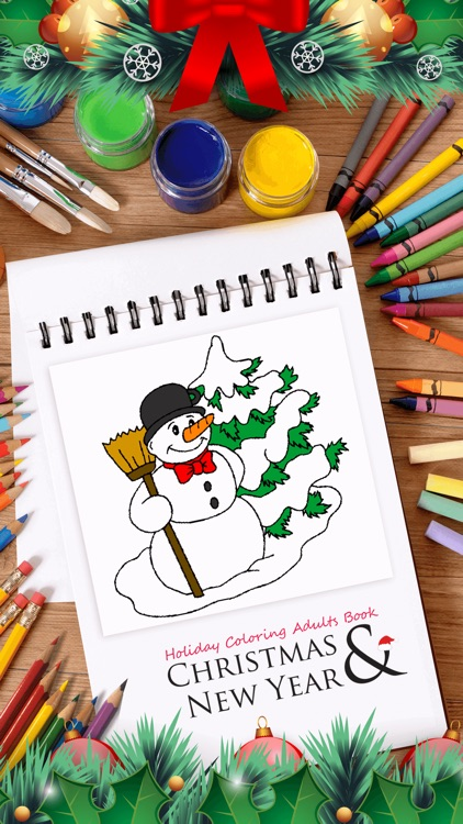 Christmas & New Year Holiday Coloring Adults Book