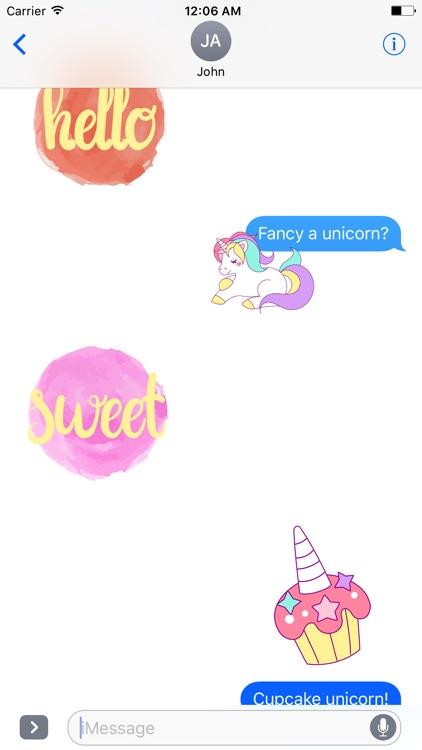 Pastel UNICORN Words Stickers screenshot-3