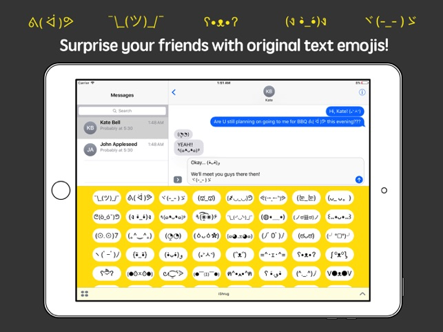 iShrug: Text Faces for iMessage Screenshot