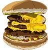 ハンバーガー二つのステッカーパック