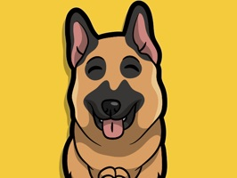 React with German Shepherd Dog Stickers and Emojis Pack