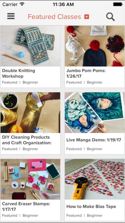 Creativebug: art, drawing, knitting, sewing & more