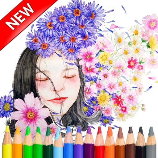 Adult Coloring Beautiful Girl For Stress Relieved