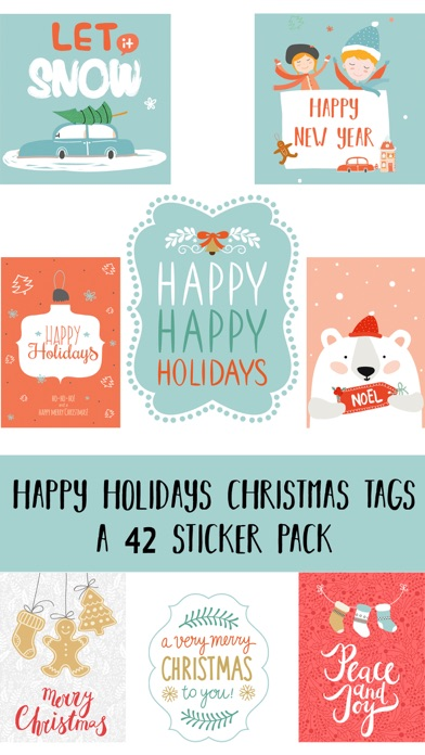 Happy Holidays Christmas Tags Sticker Pack