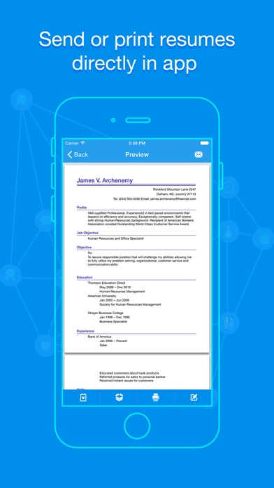 Quick Resume Pro Resumes Builder And Designer App Mobile Apps - Mobile-resume-builder