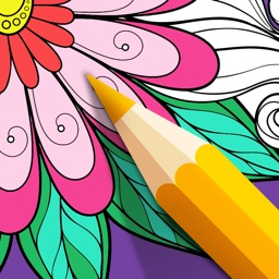 Adult Color Therapy Pages - Flower Coloring Book
