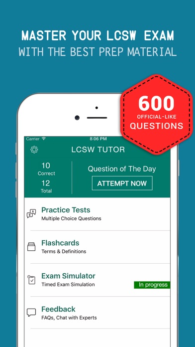 ASWB® LCSW Practice Exam Prep 2017 – Q&A Flashcard Screenshot on iOS