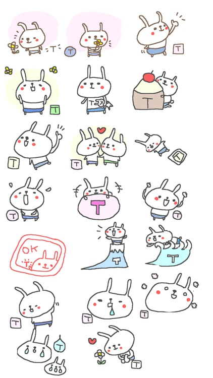 Initial T Cute rabbit Stickers!!