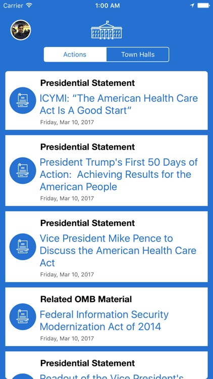 Presidential Actions - Notifications & Town Halls