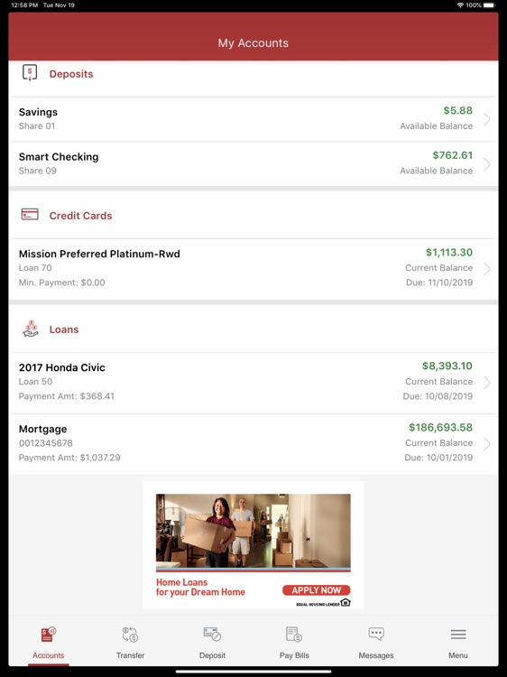 Mission Fed Banking for iPad
