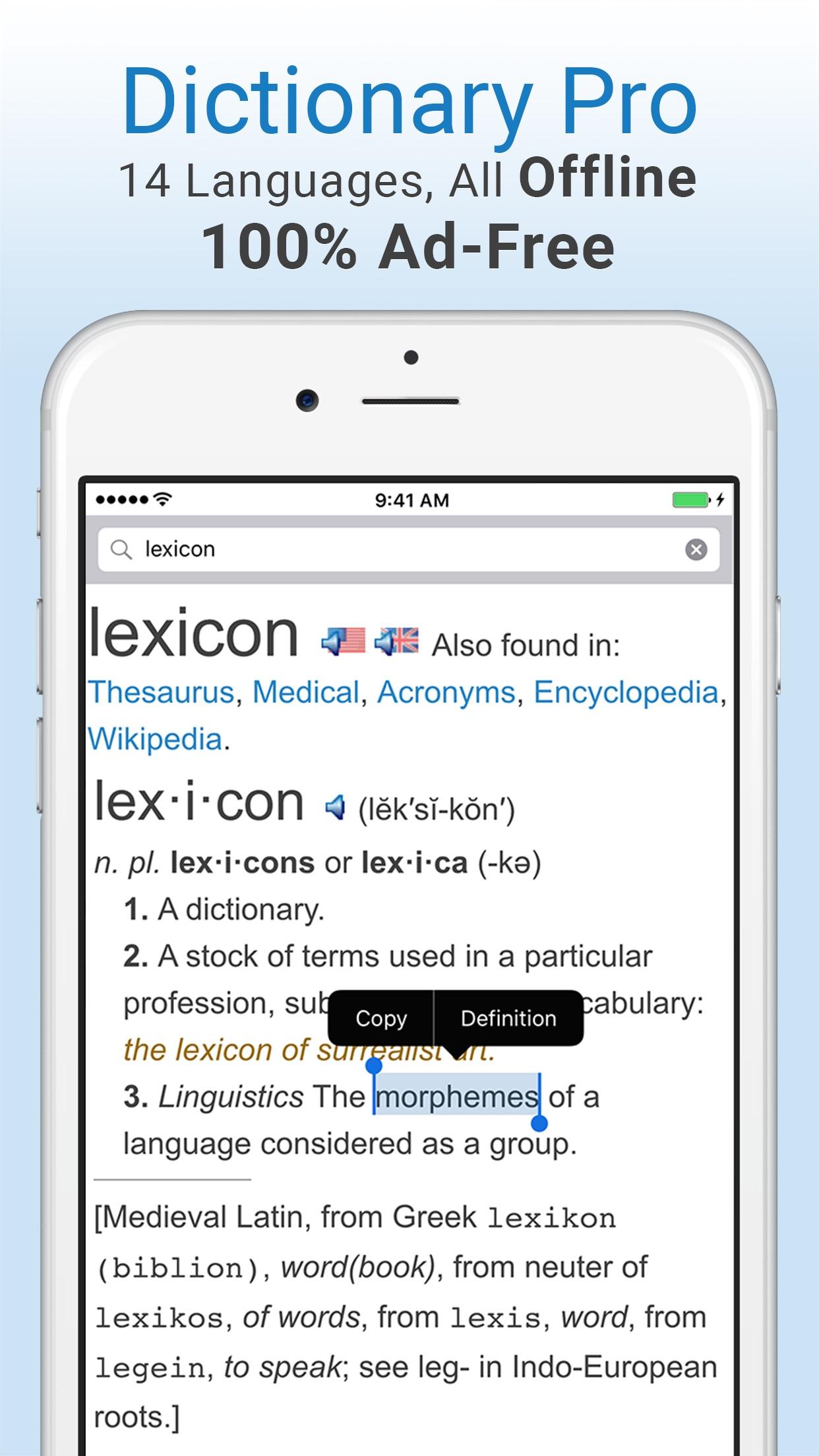 Dictionary and Thesaurus Pro Screenshot
