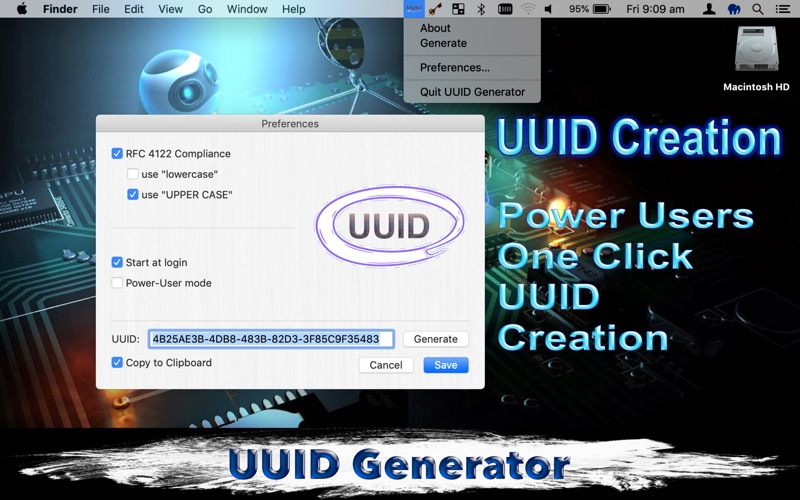 UUID Generator for Mac