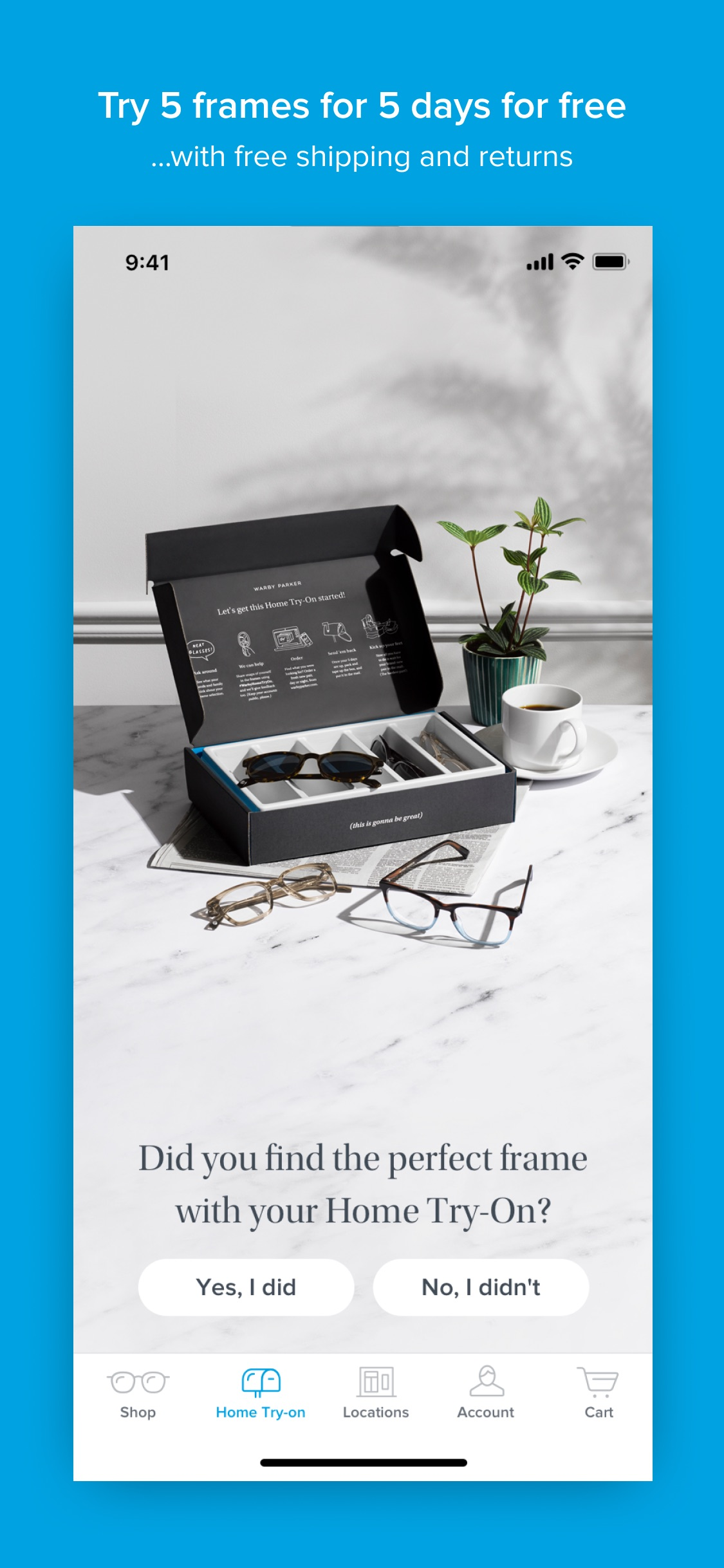 Screenshot do app Warby Parker