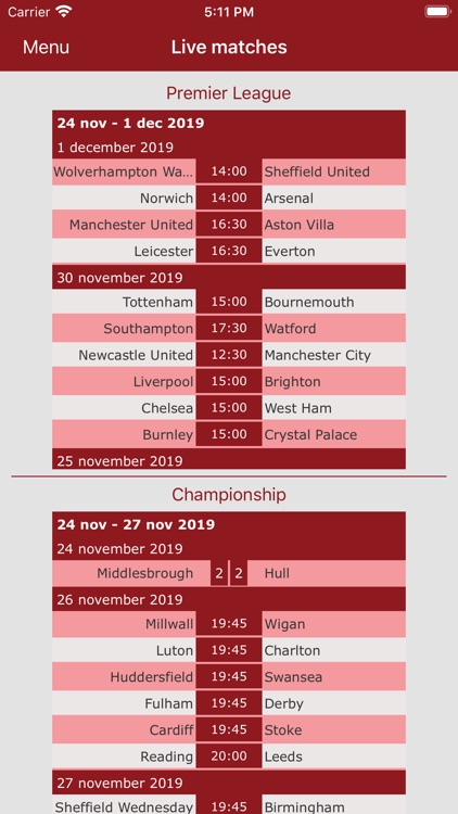 English Soccer live