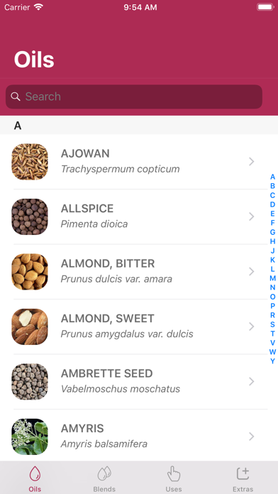 Essential Oils Guide + Screenshots