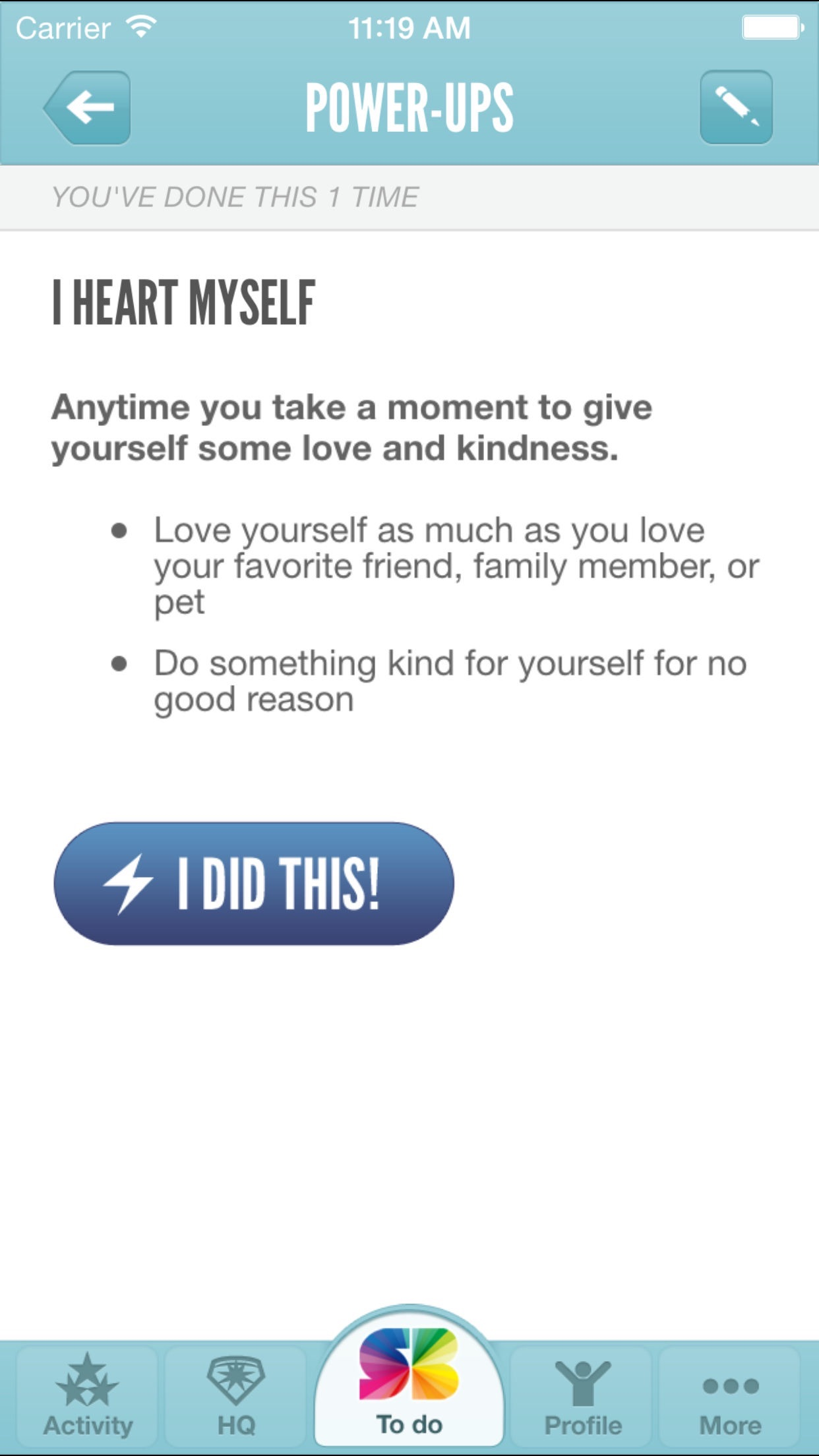 Screenshot do app SuperBetter