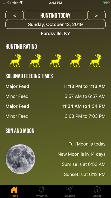 Solunar Best Hunting Times Screenshot
