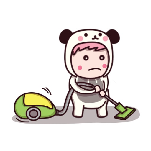 Cute panda suit sticker