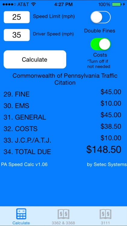PA Speed Calc