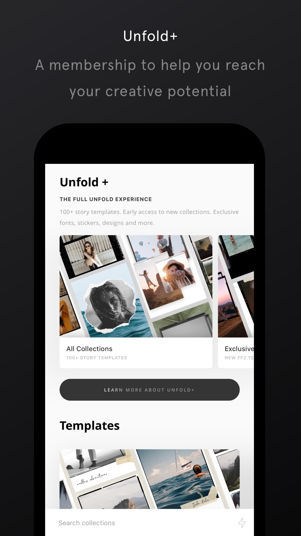 Screenshot do app Unfold — Crie Histórias