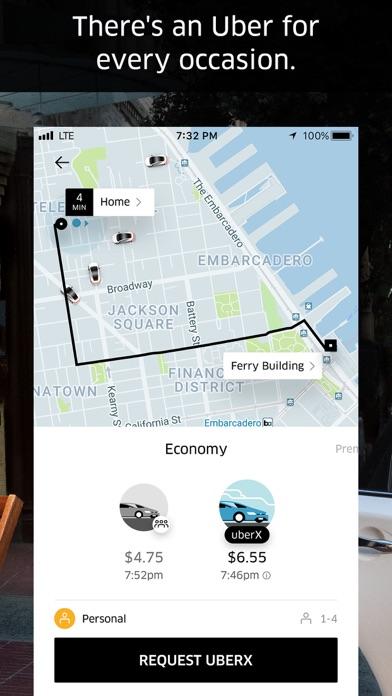 Uber Screenshot on iOS