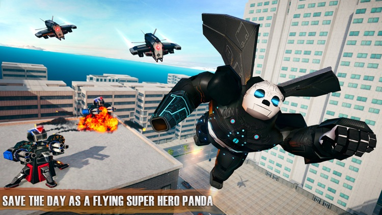 Flying Panda Robots War Battle screenshot-4