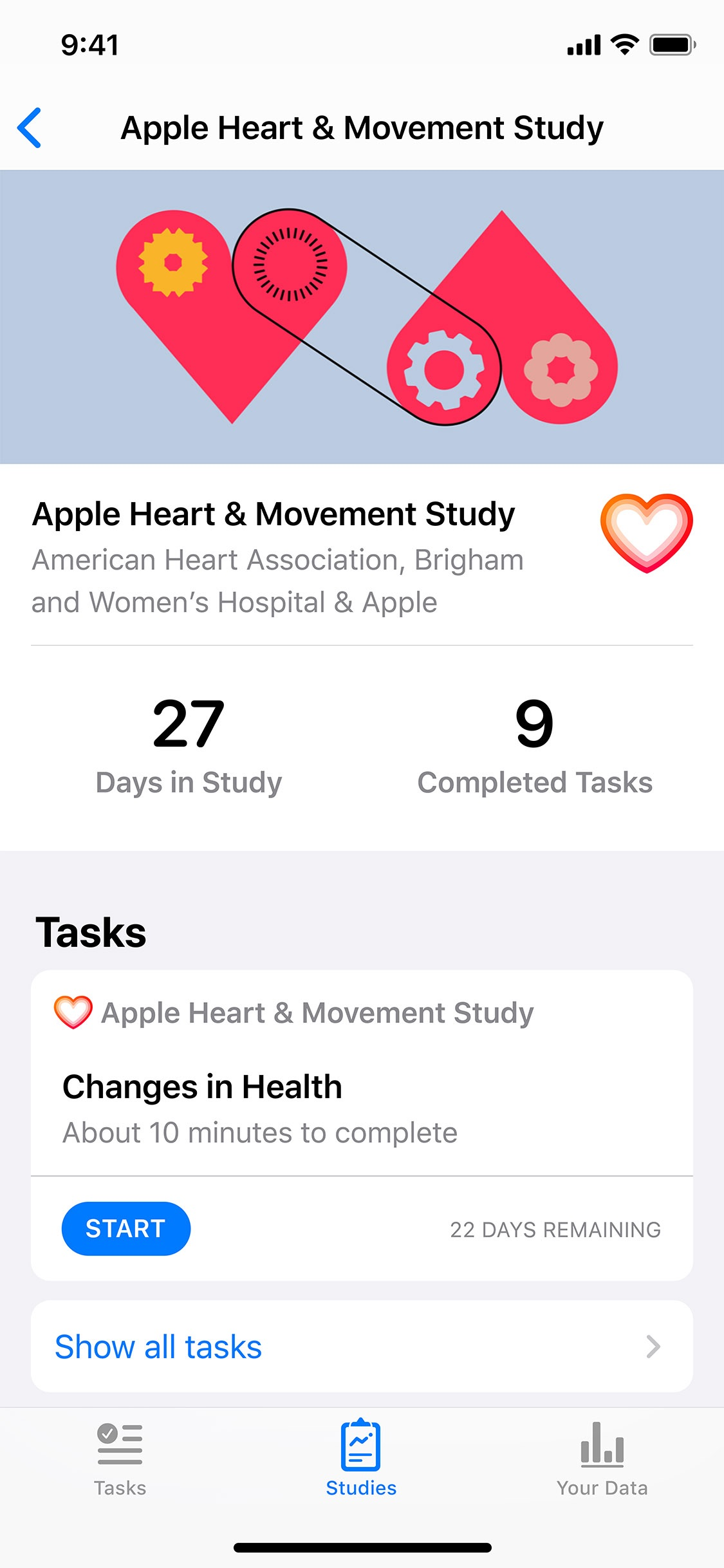 Screenshot do app Apple Research