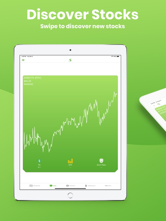 StockSwipe - Discover New Trade Ideas & Trending Stocks By Swiping Chart Cards screenshot