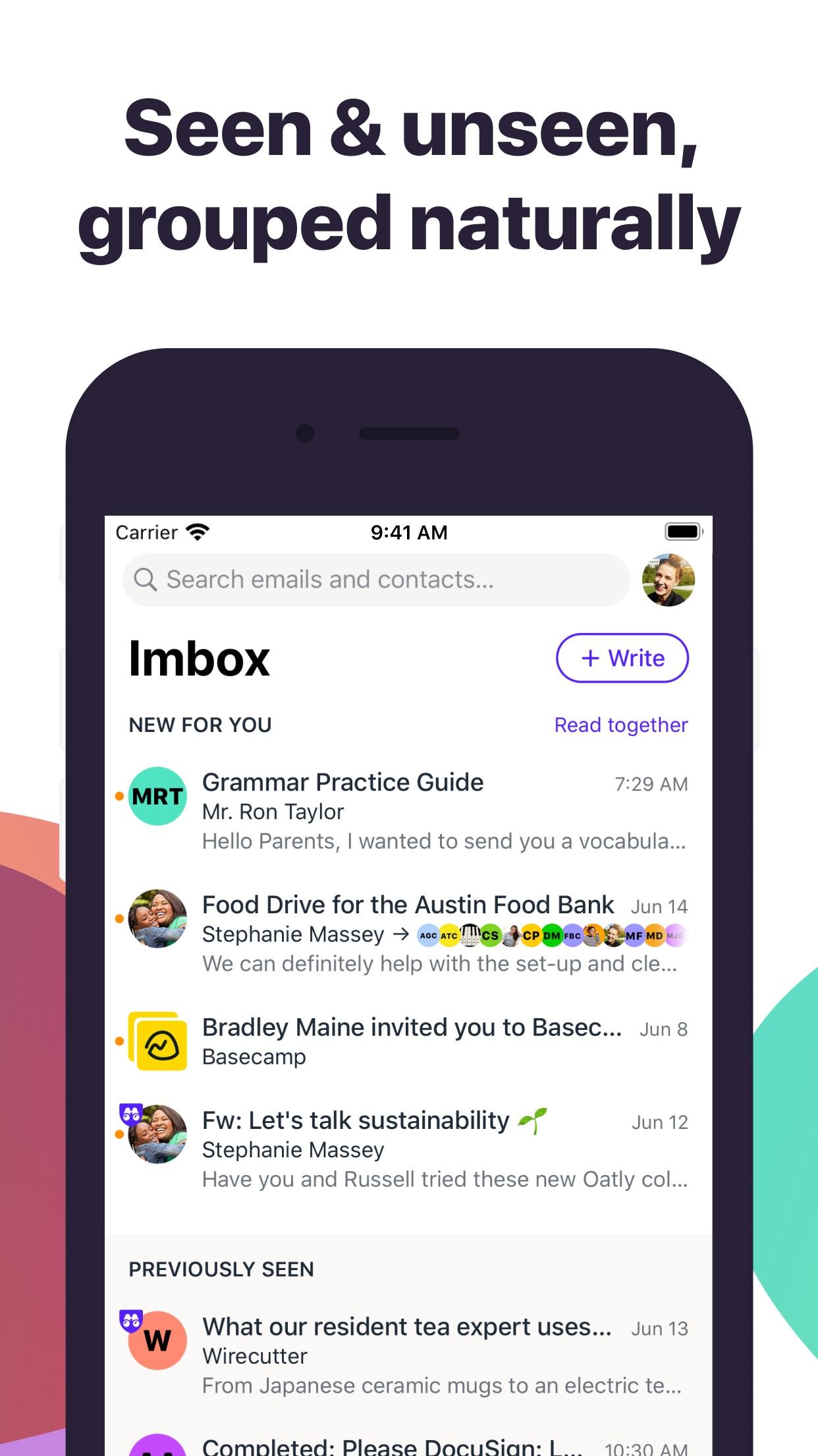 Screenshot do app HEY Email
