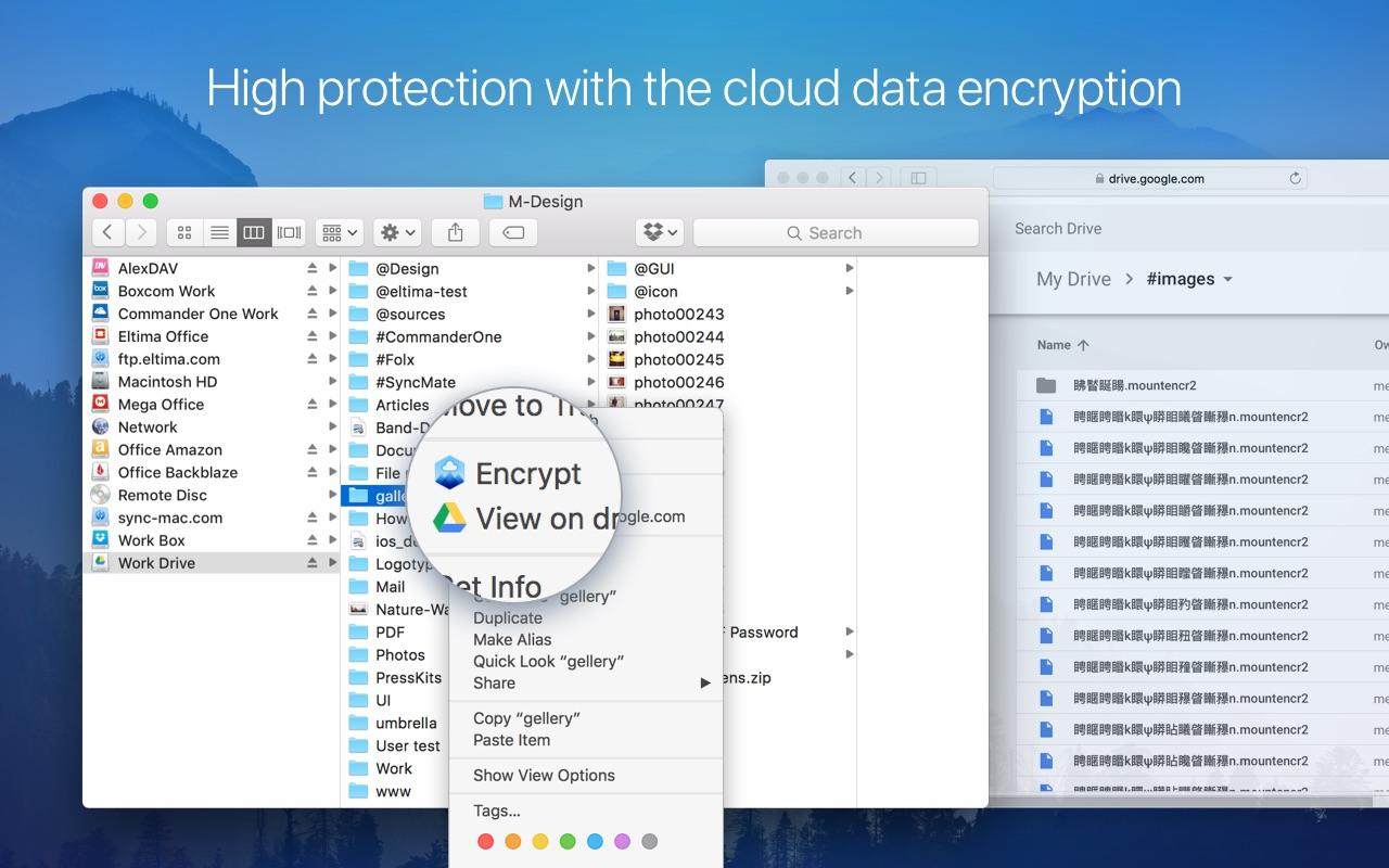 Screenshot do app CloudMounter: cloud encryption