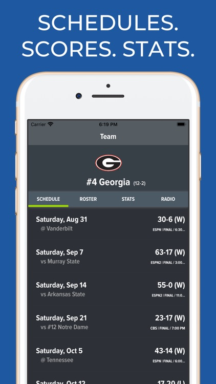 Georgia Football Schedules screenshot-0