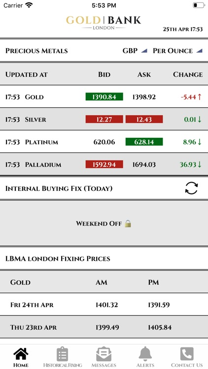 Gold Bank - Live Gold Prices