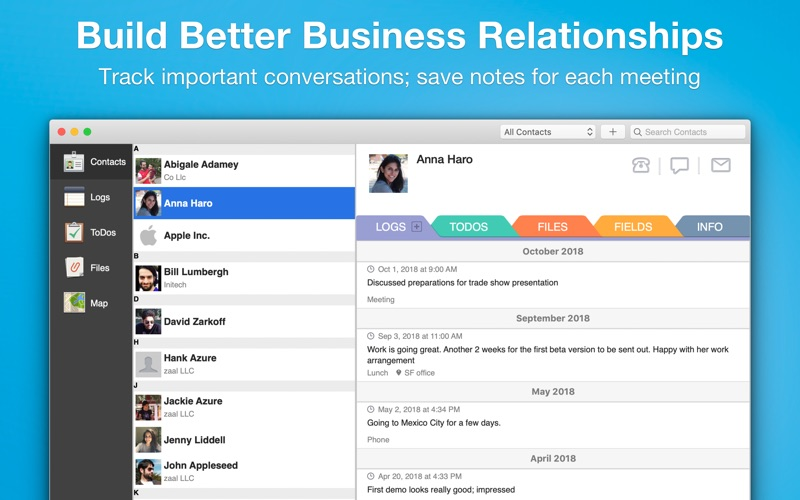 Screenshot #1 pour Contacts Journal CRM