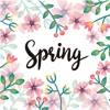 Watercolor Flowers Spring Word