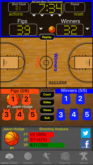 Ballers Basketball Stats Screenshots