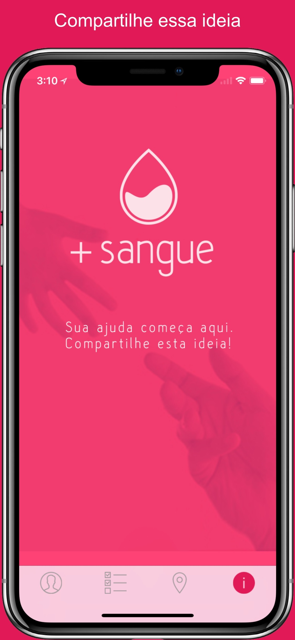 Screenshot do app +Sangue