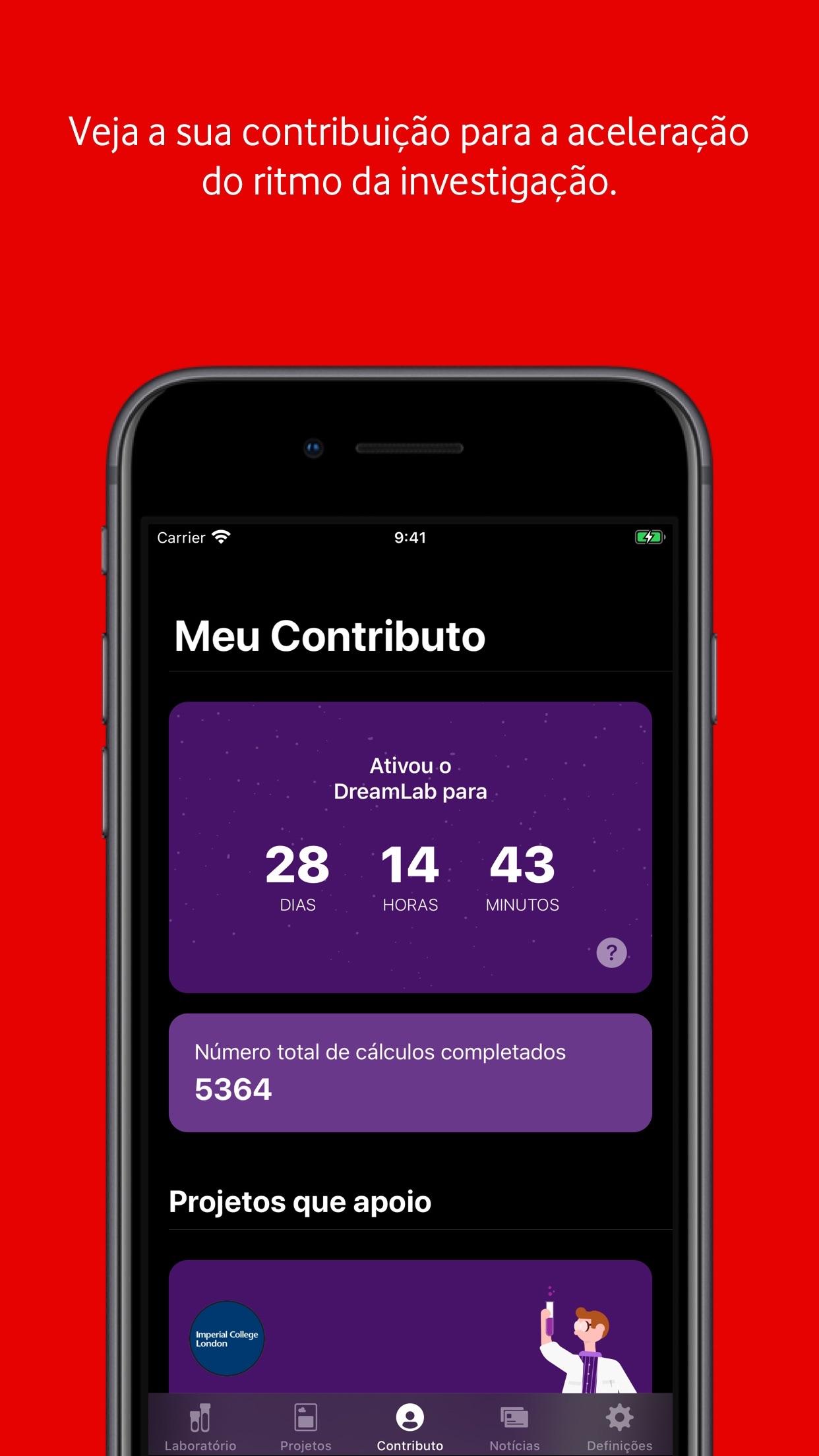 Screenshot do app DreamLab