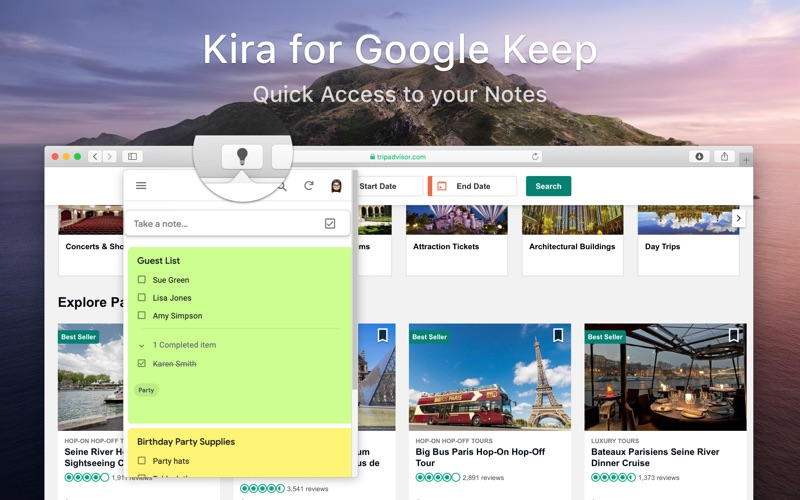 Kira for Google Keep for Mac