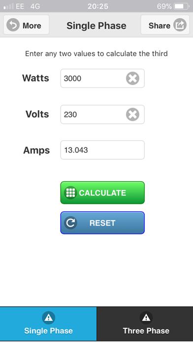 Watts Amps Volts  Calculator-3