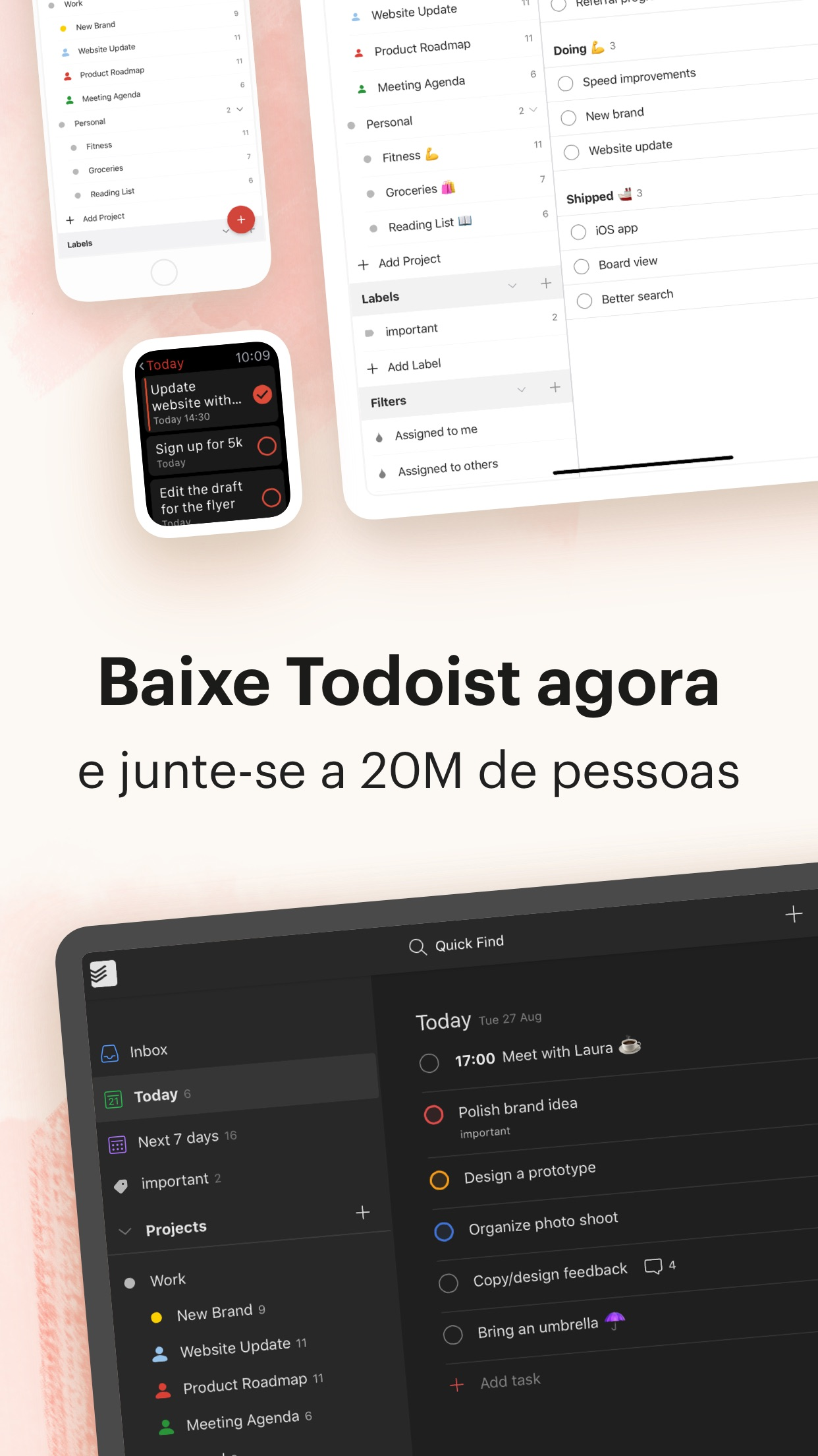 Screenshot do app Todoist: To do list e tarefas
