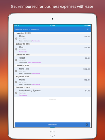 Screenshot of Shoeboxed Receipt Tracker