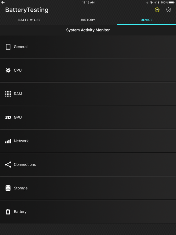 Battery Testing screenshot